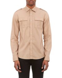 Michael Kors Poplin Military Shirt - Lyst