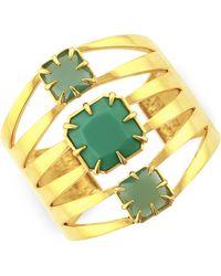 Vince Camuto - Gold-Tone Cutout Three Stone Drama Cuff Bracelet - Lyst