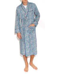 Liberty - Blue Bourton Cotton Long Robe - Lyst