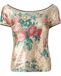 Jean Paul Gaultier Flower Print Sequined Top - Lyst