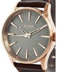Nixon Pink Gold Sentry 38 Watch Brown Horween Leather Strap pink - Lyst