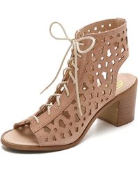 House Of Harlow 1960 Lorelai Lace Up Suede Sandals - Nude - Lyst