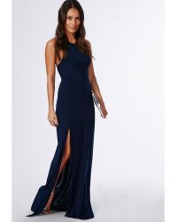 Missguided Nora Navy High Neck Maxi Dress - Lyst