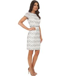 Adrianna Papell Embellished Ornate Lace Sheath - Lyst