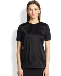 Burberry Pleated Stretch Silk Blouse - Lyst