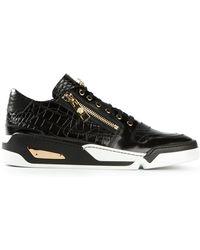 Versace Crocodile Effect Sneakers - Lyst