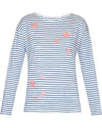 Chinti & Parker Star-Print Striped Jersey T-Shirt blue - Lyst