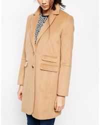 Asos Coat With Curved Collar And Seam Detail - Lyst