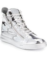 Giuseppe Zanotti Double-Zip Metallic High-Top Sneakers - Lyst