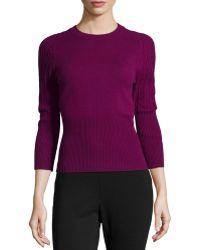 Carolina Herrera Three-Quarter-Sleeve Cashmere Sweater - Lyst