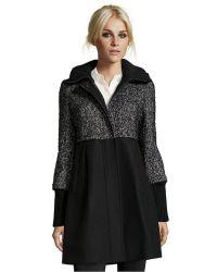 DKNY Black Wool Blend 'Ella' Empire Waist Hooded 3/4-Length Coat - Lyst