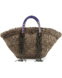 En Shalla - Fringed Knitted Shopper Tote - Lyst