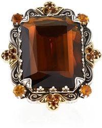 Konstantino - Sterling Silver Emerald Cut Cognac & Citrine Ring With 18 Karat Gold - Lyst
