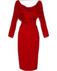 Blumarine Draped Bodice Sheath Dress - Lyst