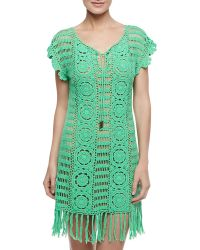 Letarte Banana Leaf Crochet Coverup Green Leaf - Lyst