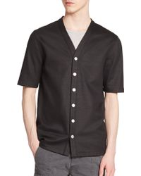 Helmut Lang Short-Sleeved Cotton Cardigan black - Lyst