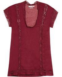 Etoile Isabel Marant Dex Lace-Insert Cotton Top purple - Lyst
