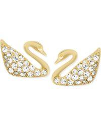 Swarovski Goldtone Crystal Pavé Swan Stud Earrings - Lyst