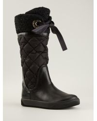 Moncler Judith Bouclé Cuff Quilted Boot - Lyst