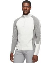 Calvin Klein Quarter-Zip Colorblocked Sporty Half Milano Sweater - Lyst