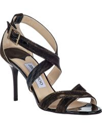 Jimmy Choo Louise Evening Sandal Bronze Fabric - Lyst