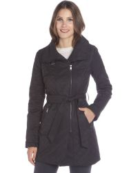 French Connection Black Quilted Cotton Blend Cutaway Belted Rain Jacket - Lyst