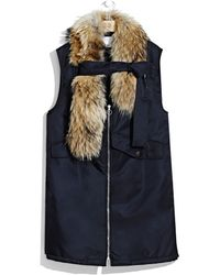 3.1 Phillip Lim | Flight Vest With Detachable Fur Stole And Chest Strap | Lyst