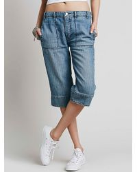 Free People Womens Relaxed Beach Crop blue - Lyst