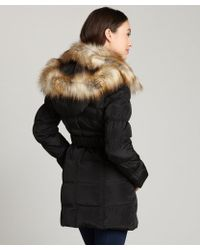 Laundry by Shelli Segal Black Belted Three Quarter Coat Removable Faux Fur Trim Collar Coat - Lyst