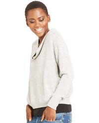 Eileen Fisher White Cowl-neck Sweatshirt - Lyst