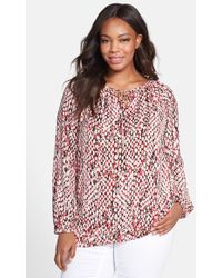 Ellen Tracy Print Tie Neck Peasant Top - Lyst