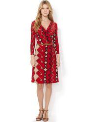 Lauren by Ralph Lauren Petite Southwestern-print Belted Dress - Lyst