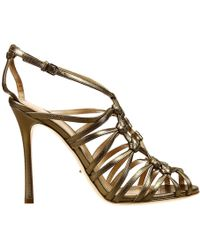 Sergio Rossi 10,5Heel Laminated Leather Gabbia Sandal Shoes - Lyst
