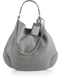 Ralph Lauren Collection Cashmere Leather Hobo Bag - Lyst
