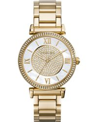 Michael Kors Ladies Caitlin Gold Tone Glitz Watch - Lyst