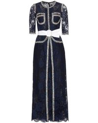 Alessandra Rich Lace Dress blue - Lyst