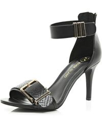 River Island Black Buckle Trim Barely There Sandals - Lyst