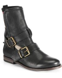 Burberry Worchester Leather Buckle Mid-Calf Boots black - Lyst