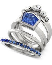 Vince Camuto - Rhodium-tone Blue And Clear Crystal Stacked Ring - Lyst