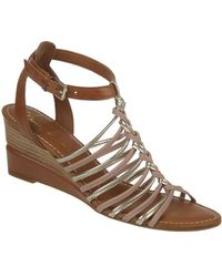 Franco Sarto Everly Leather Wedge Sandals - Lyst