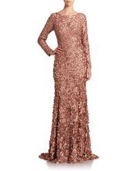 Theia Petal-Applique Satin Gown brown - Lyst
