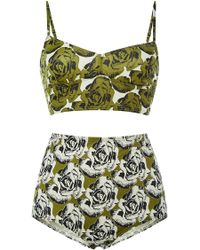 Peter Som Ivory Floral High Waisted Bottoms - Lyst