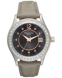 Kenneth Cole | Crystal Bezel Leather Strap Watch | Lyst
