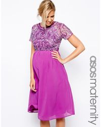 Asos Maternity Exclusive Embellished Midi Dress - Lyst