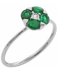 Tia Collections | Oval Emeralds With 0.08ctw Diamond Ring | Lyst