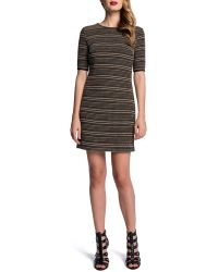 Cynthia Steffe Halfsleeve Textured Stripe Dress - Lyst
