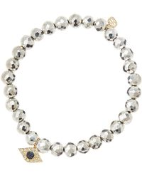 Sydney Evan 6mm Faceted Silver Pyrite Beaded Bracelet with 14k Yellow Golddiamond Small Evil Eye Charm Made To Order - Lyst