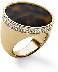 Michael Kors Goldtone Tortoiseshell Dome Ring - Lyst