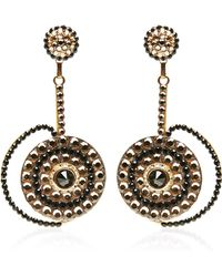 Carole Tanenbaum - S Unsigned Black and Gold Flat Backed Stones Shoulder Duster Earrings - Lyst