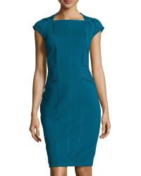 Catherine Deane Madra Cap-sleeve Contrast Sheath Dress - Lyst